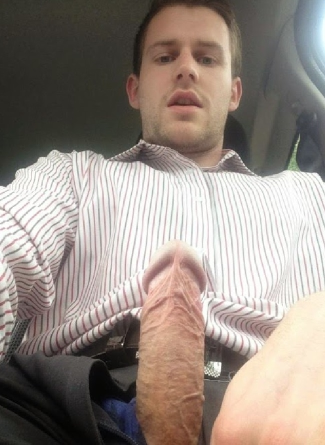 Man In A Car Having His Hard Cock Out - Horny Nude Boys