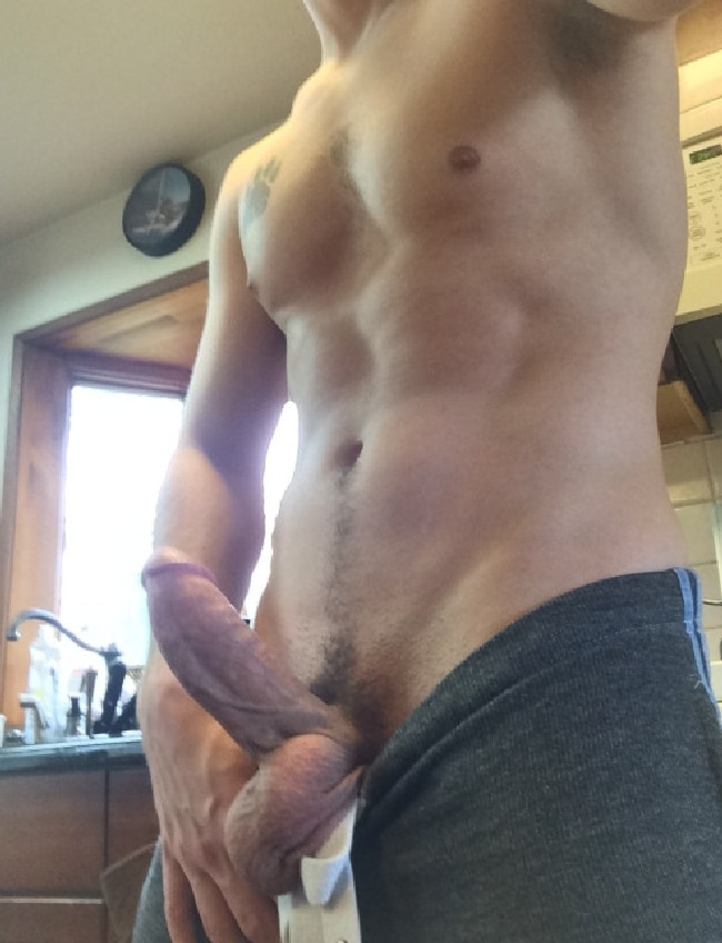 Shirtless Guy With A Thick Hard Cut Cock - Horny Nude Boys
