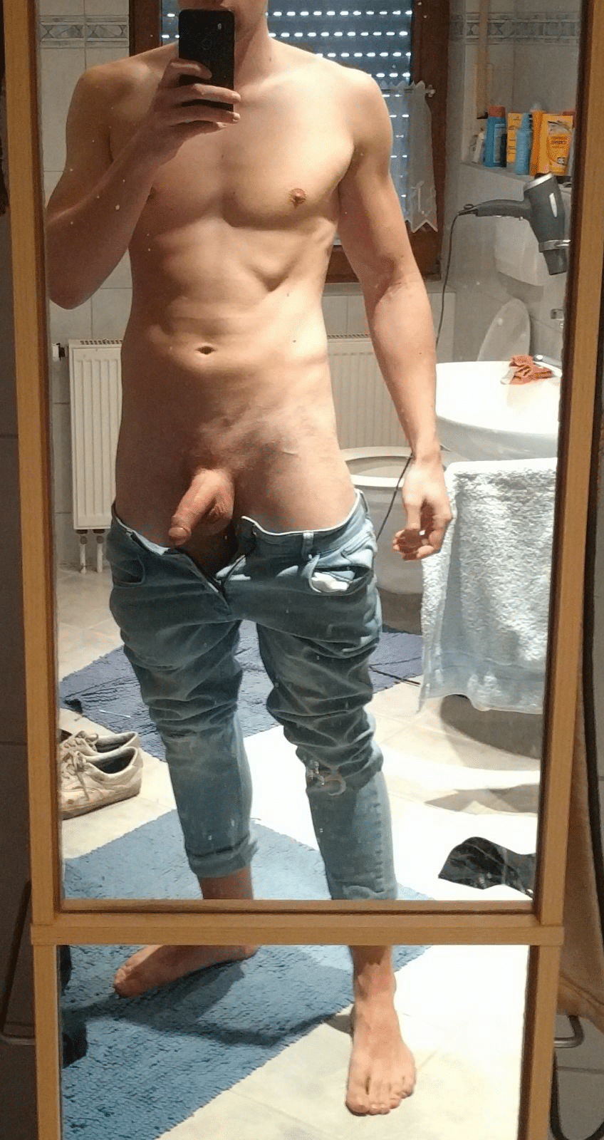 Smooth cock out of jeans